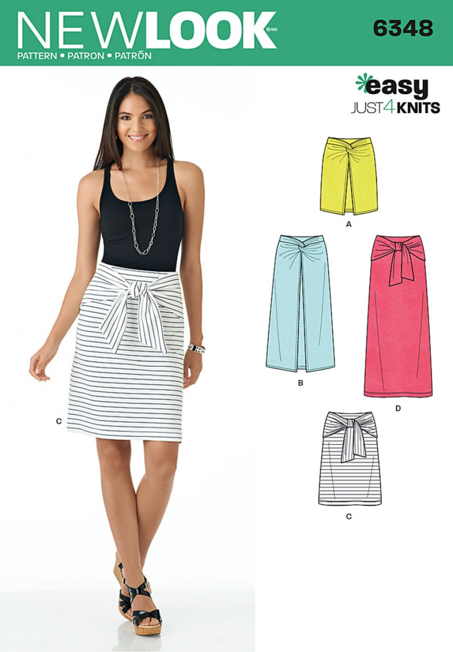 Discontinued) New Look Pattern 6348 - Misses\' Easy Knit Skirts ...