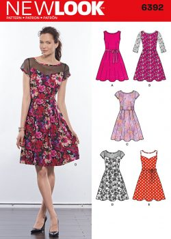New Look Pattern 6392 - Misses' Dresses with Contrast Fabric Options