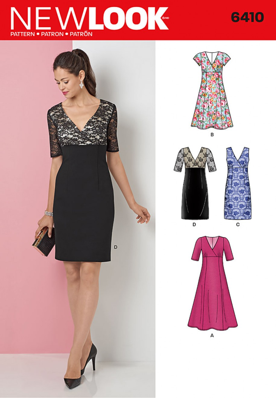 New Look Pattern 6410 - Dress with Skirt and Fabric Variations ...