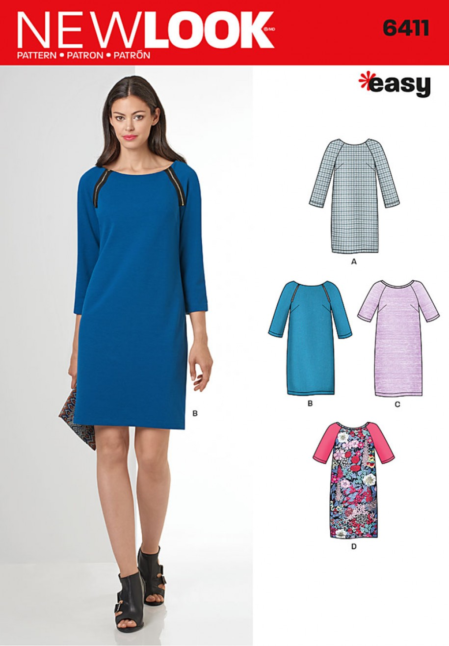 New Look Pattern 6411 - Easy to Sew Shift Dress | Sewing Patterns Online