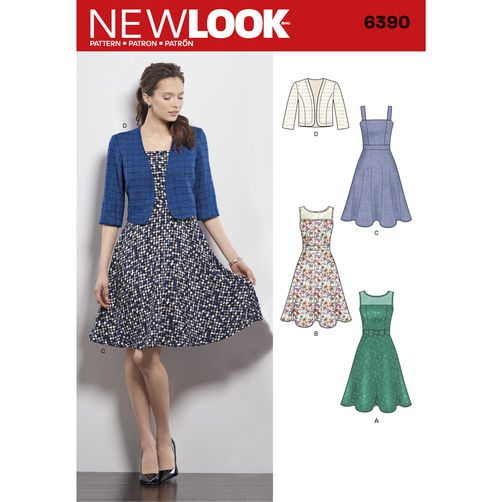 New Look Pattern 6390 - Misses\' Dresses with Full Skirt and Bolero ...