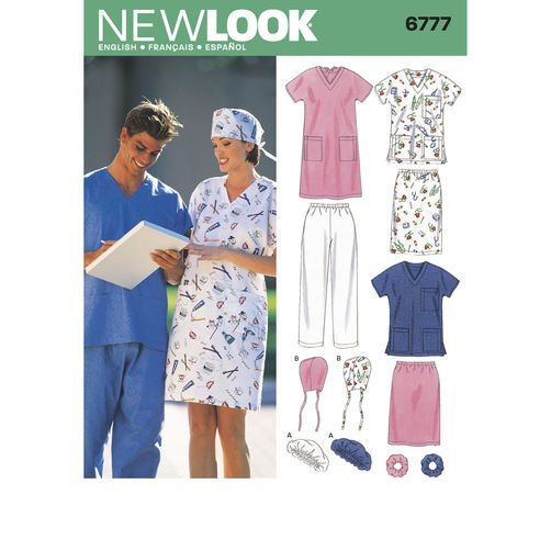 Discontinued) New Look Pattern Scrubs 6777 | Sewing Patterns Online