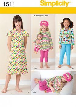 "Simplicity Sewing Pattern 1511 - Child and 18"" Doll Matching Loungewear"