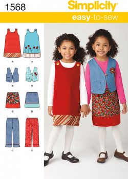 Simplicity Sewing Pattern 1568 - Child's Jumper, Vest, Pants and Skirt