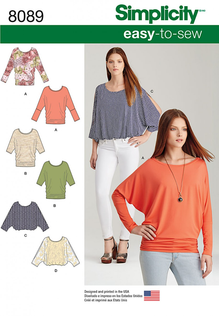 Simplicity Sewing Pattern 8089 - Misses\' Easy-to-Sew Knit Tops ...