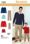 (Discontinued) Simplicity Sewing Pattern 1286 - Boys' and Men's Classic Pants and Knit Shirt