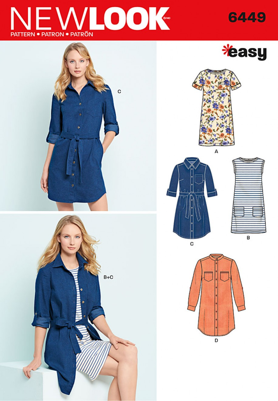Simplicity New Look Sewing Pattern - Easy Shirt Dress and Knit Dress ...