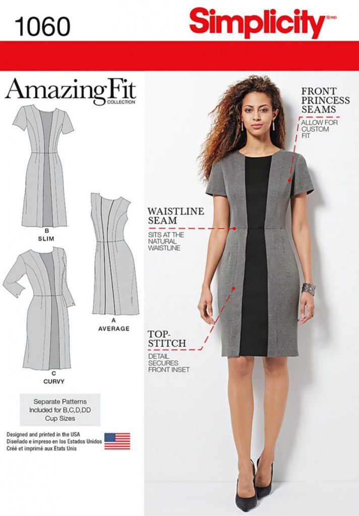 2a9361575739 (Discontinued) Simplicity Sewing Pattern 1060-AA – Misses   Plus Size  Amazing Fit Dress