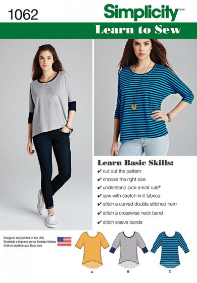 Simplicity Sewing Pattern 1062 - Misses\' Learn to Sew Knit Tops ...