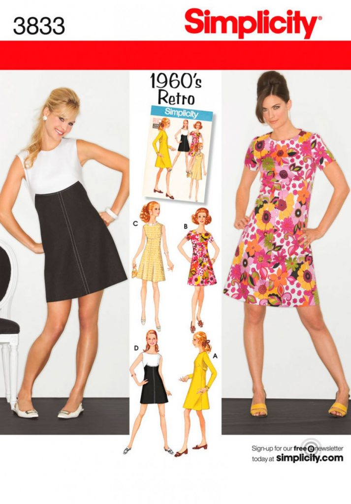 Simplicity Sewing Pattern 3833 H5 Misses Miss Petite 1960s