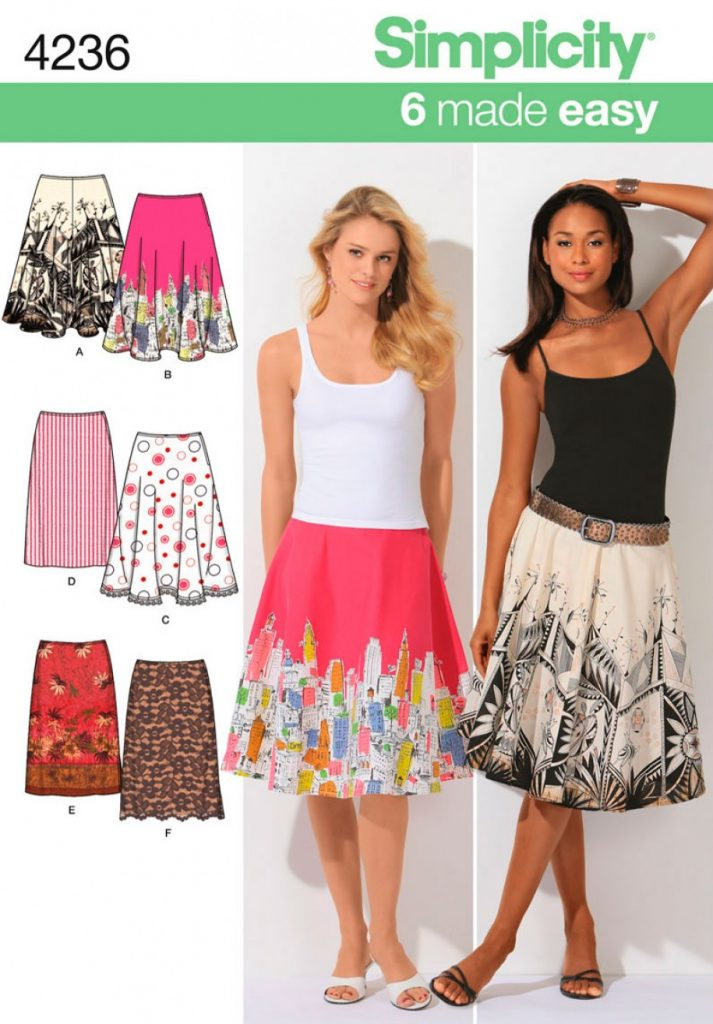Discontinued Simplicity Sewing Pattern 4236 H5 Misses Skirts