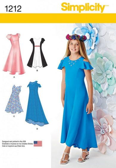 (Discontinued) Simplicity Sewing Pattern 1212-AA - Girls and Girls Plus Dresses