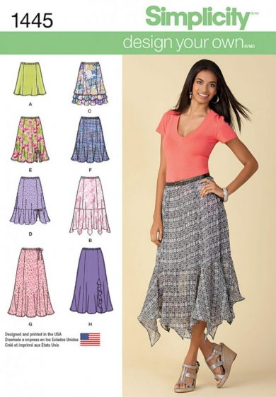(Discontinued) Simplicity Sewing Pattern 1445-K5 - Misses Design Your Own Skirt with Length Variations