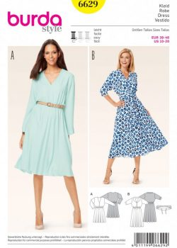 (Discontinued) Burda Style Sewing Pattern - 6629 - Misses' Dress