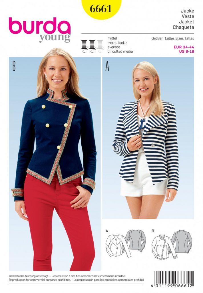 Burda Style Sewing Pattern - 6661 - Jacket | Sewing Patterns Online