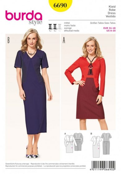 (Discontinued) Burda Style Sewing Pattern - 6690 - Misses' Dress