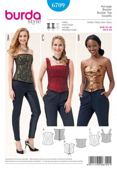 (Discontinued) Burda Style Sewing Pattern - 6709 - Bustier Top Tops ShirtsBlouses|Festival Fashion