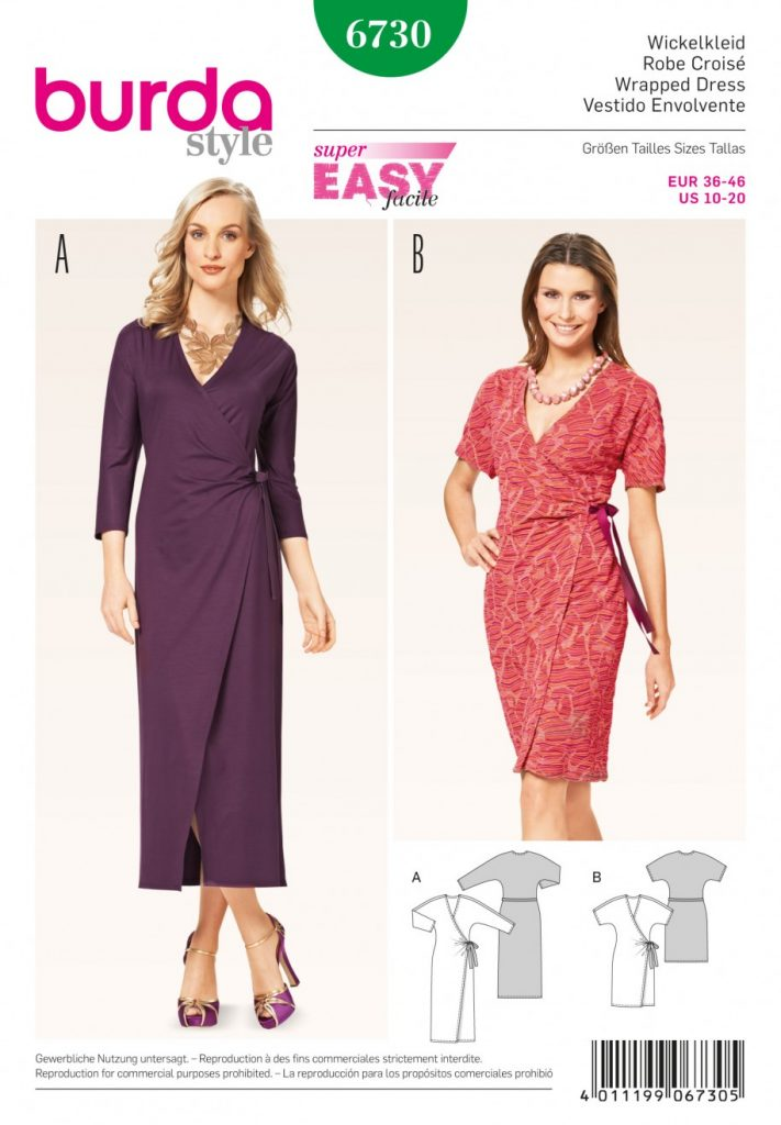 Burda Style Sewing Pattern 6730 Wrapped Dress Dresses