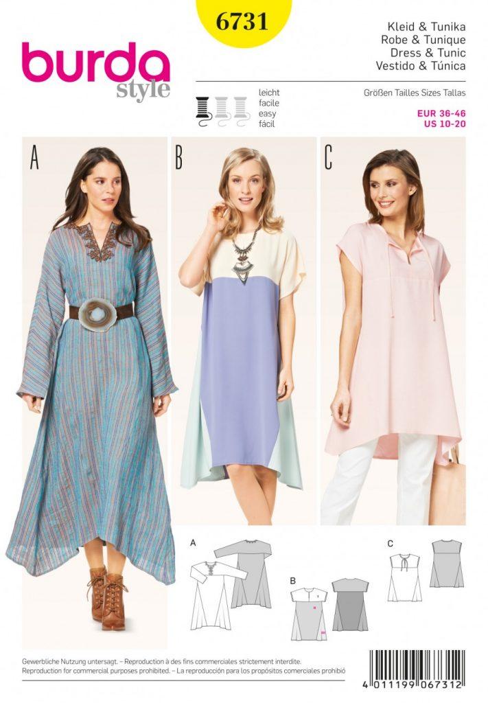 Discontinued) Burda Style Sewing Pattern - 6731 - Dress & Tunic ...