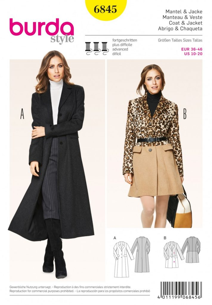 Burda Style Sewing Pattern - 6845 - Coat & Jacket Jackets Coats ...