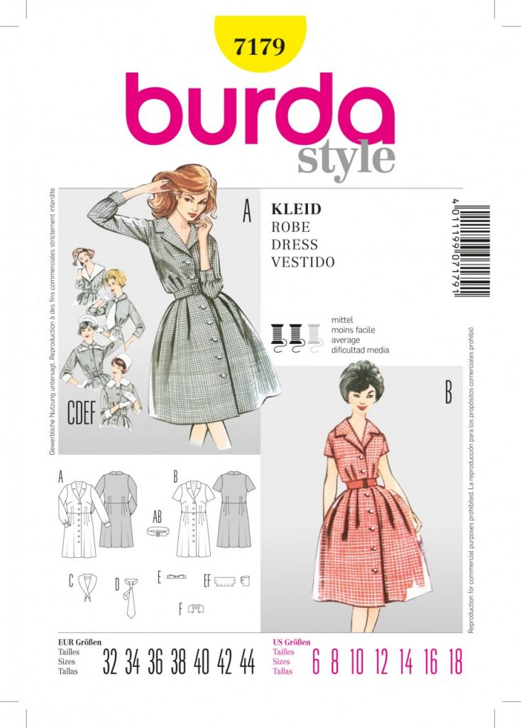 Discontinued) Burda Style Sewing Pattern - 7179 - Dress Vintage ...