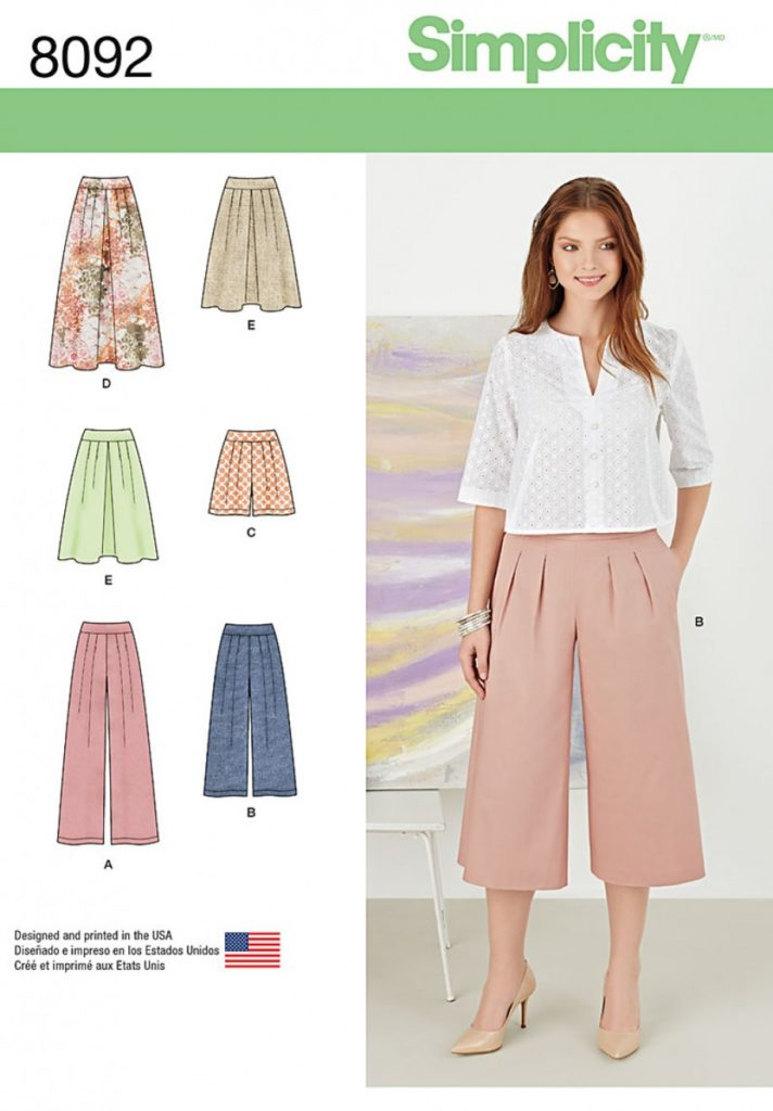 Simplicity Sewing Pattern 8092-R5 - Misses Skirts, Pants, Culottes ...