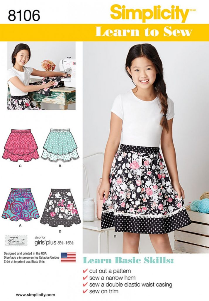 Simplicity Sewing Pattern 8106-AA - Learn To Sew Skirts for Girls ...