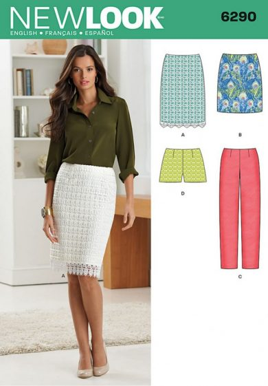 New Look Pattern 6290 - Misses' Shorts, Skirt in Two Lengths and Slim Pants