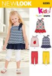 New Look Pattern 6295 - Toddlers' Knit Capri Leggings and Dress, Tunic and Top