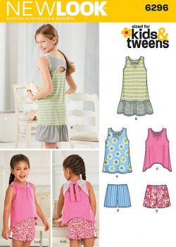 New Look Pattern 6296 - Child's and Girls' Shorts and Knit Dress or Top