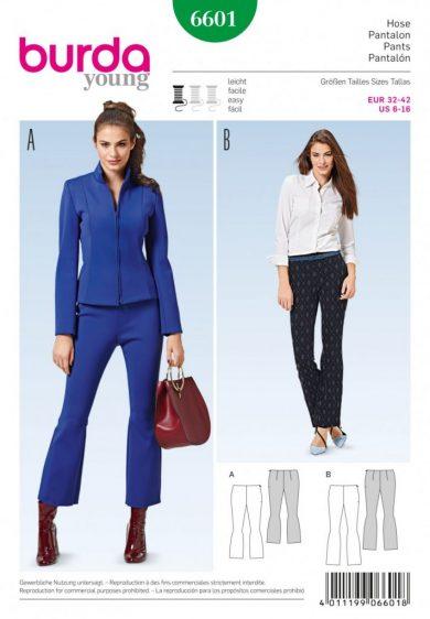 (Discontinued) Burda Style Sewing Pattern - 6601 - Pants
