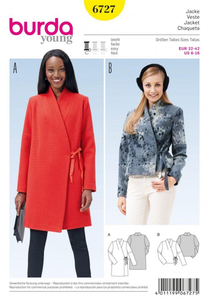 Burda Style Sewing Pattern - 6727 - Jacket Jackets Coats Waistcoats ...