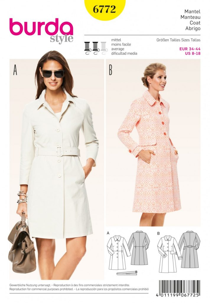 Burda Style Sewing Pattern 6772 Coat Jackets Coats Waistcoats