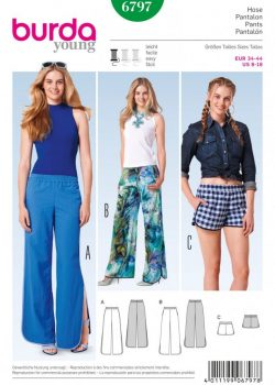 (Discontinued) Burda Style Sewing Pattern - 6797 - Pants Trousers