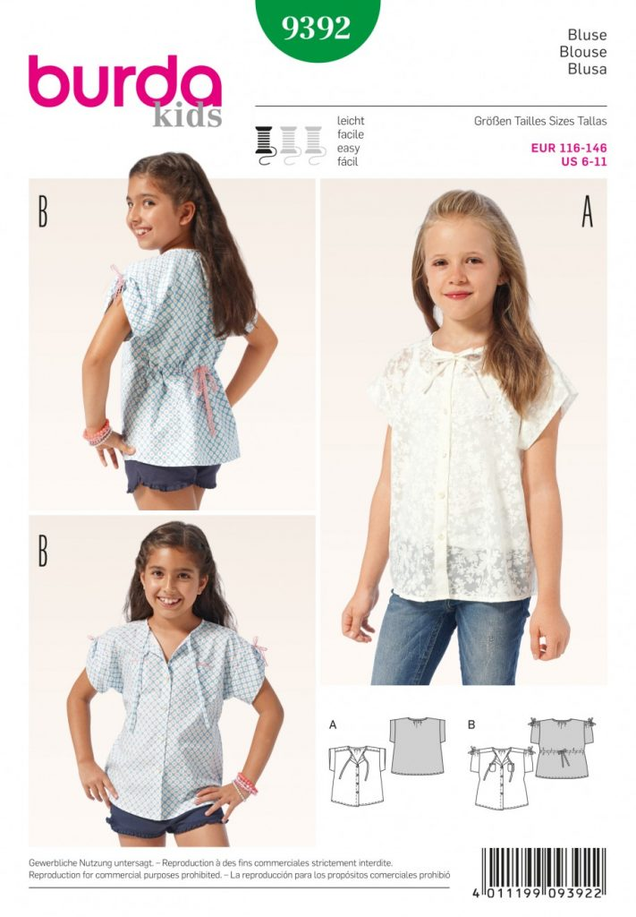 Discontinued Burda Style Sewing Pattern 9392 Blouse Sewing