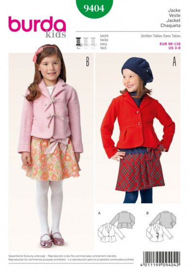 (Discontinued) Burda Style Sewing Pattern - 9404 - Jacket Toddlers|School Children