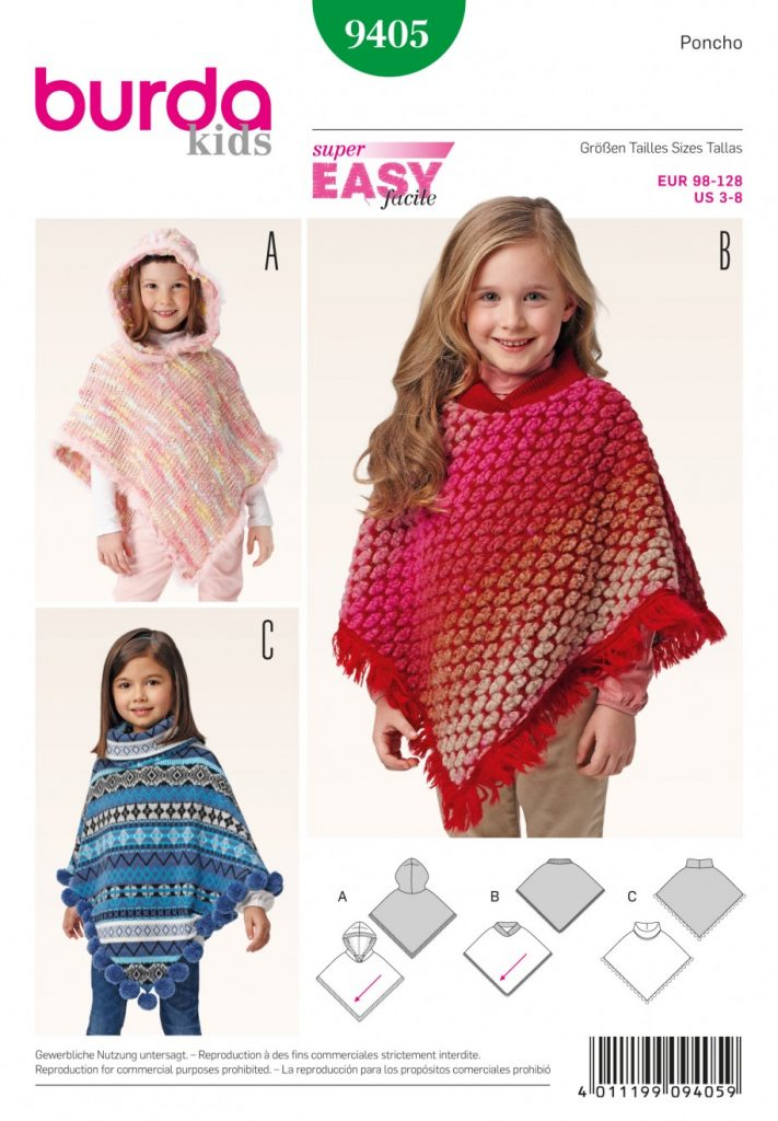 Burda Style Sewing Pattern - 9405 - Poncho Toddlers|School Children