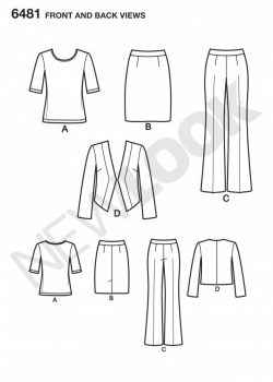 New Look Pattern 6481 - Skirt, Pants, Jacket and Knit Top