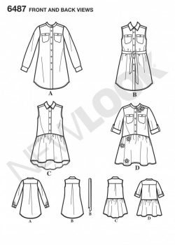 New Look Pattern 6487 - Shirt Dresses and Tie Belt