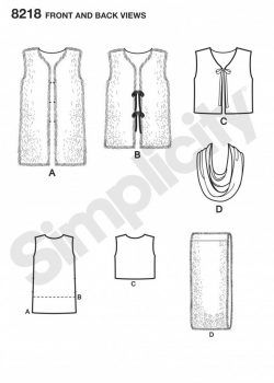 Simplicity Sewing Pattern 8219-A - Misses' Line Vest in Three Lengths