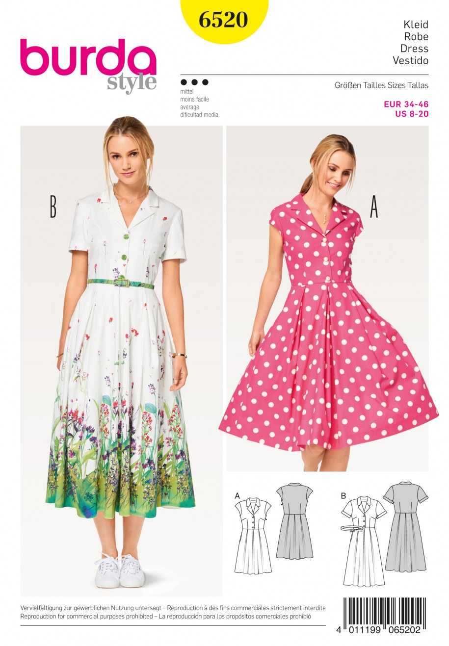 Burda Style Sewing Pattern - 6520 - Misses\' Dress Blouse and Skirt ...