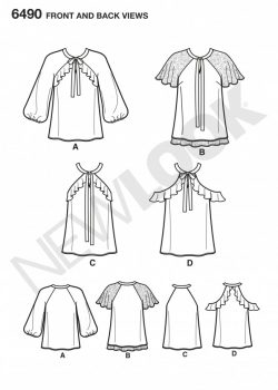 New Look Pattern 6490 - Misses' Blouses With Sleeve Variations