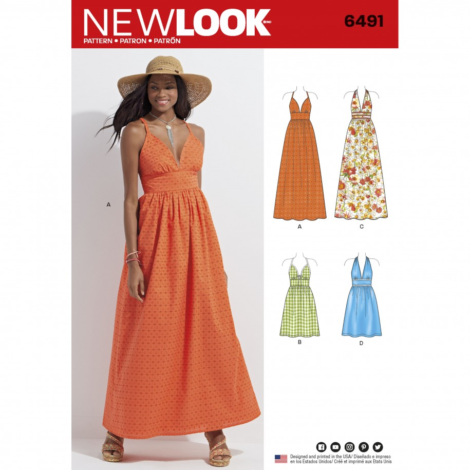 787243367931 New Look Pattern 6491 – Misses Dresses in two Lengths with Bodice Variations
