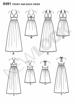 New Look Pattern 6491 - Misses Dresses in two Lengths with Bodice Variations