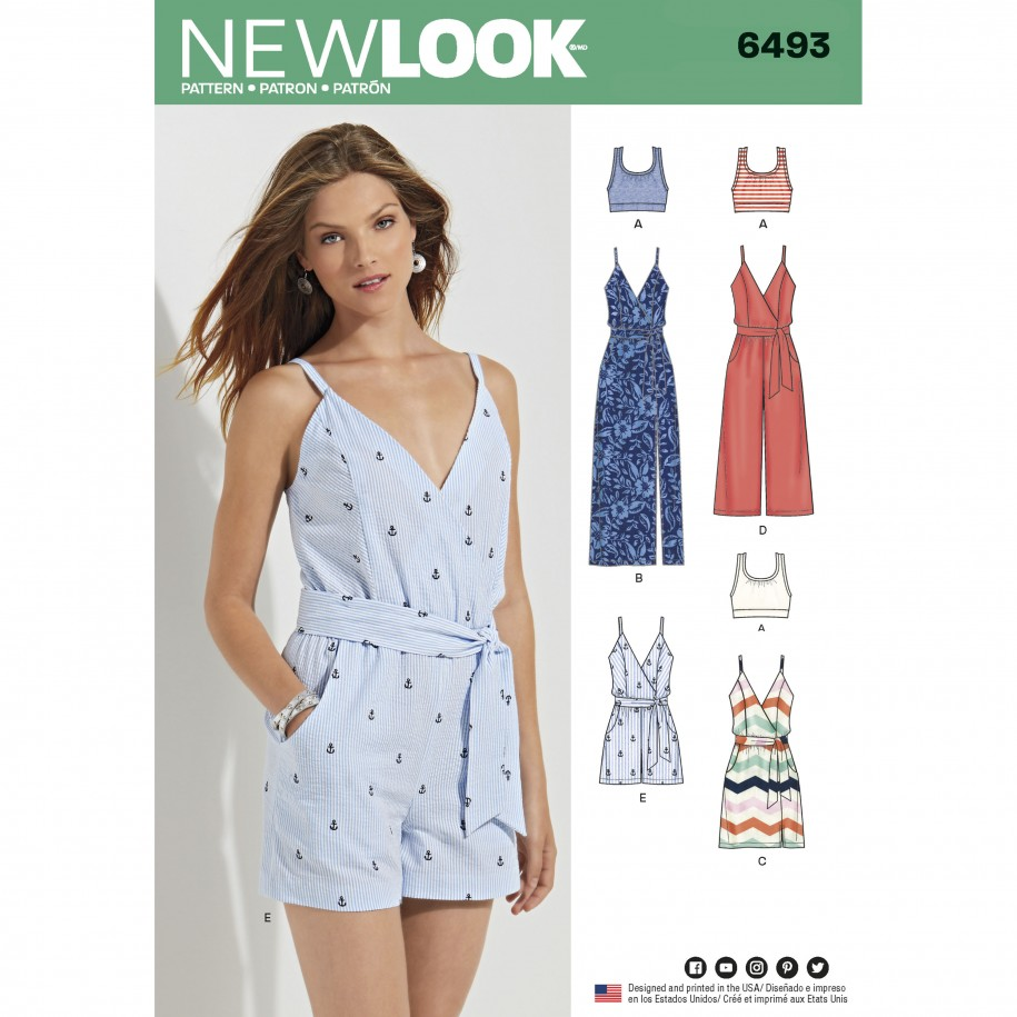 a06bdd4728e New Look Pattern 6493 – Misses  Jumpsuit and Dress in Two Lengths with  Bralette