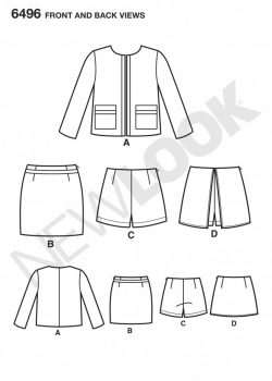 New Look Pattern 6496 - Misses' Jacket/Skort/Shorts or Skirt
