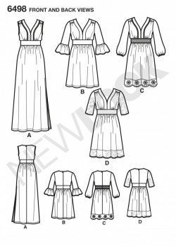 New Look Pattern 6498 - Misses Dresses in Two Lengths with Bodice Variations