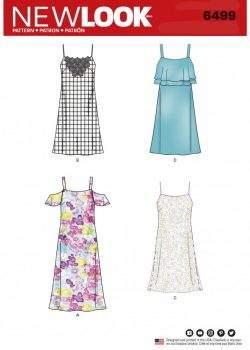 New Look Pattern 6499 - Misses' Spaghetti Strap Dresses with Length Variations