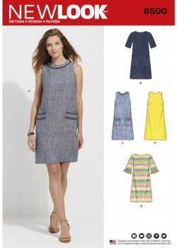 New Look Pattern 6500 - Misses Dress with Neckline/Sleeve/and Pocket Variations