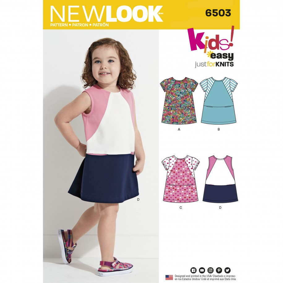 New Look Pattern 6503 - Toddlers Knit Dress with Sleeve and Fabric ...